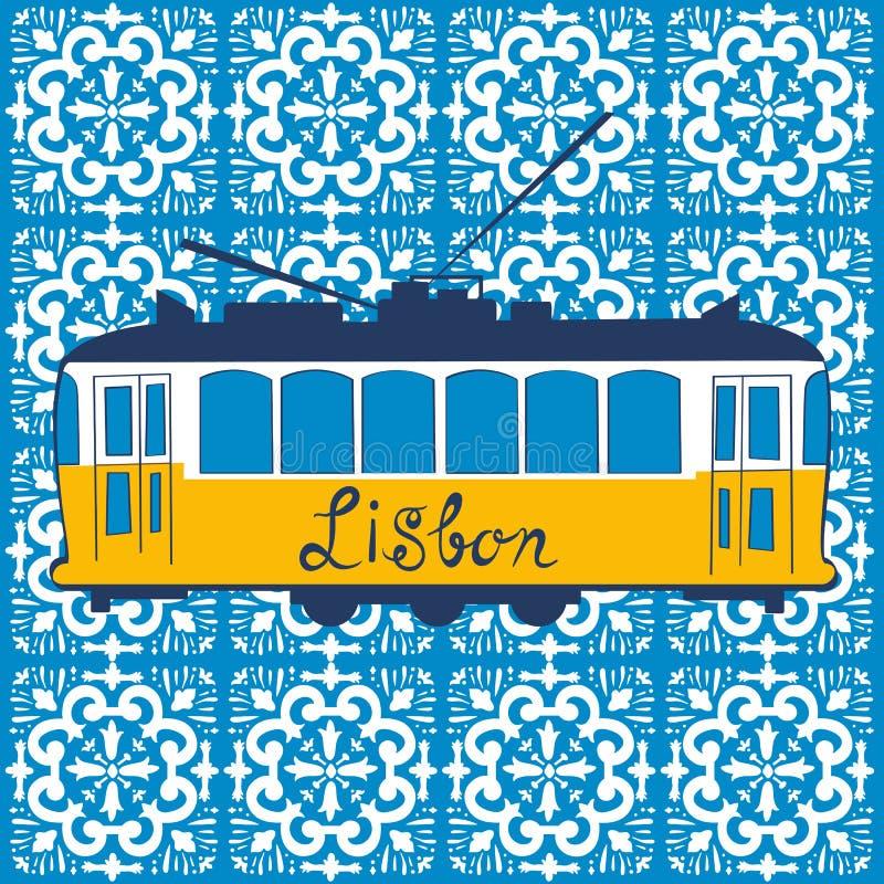 Colorful illustration of traditional Lisbon tram royalty free illustration
