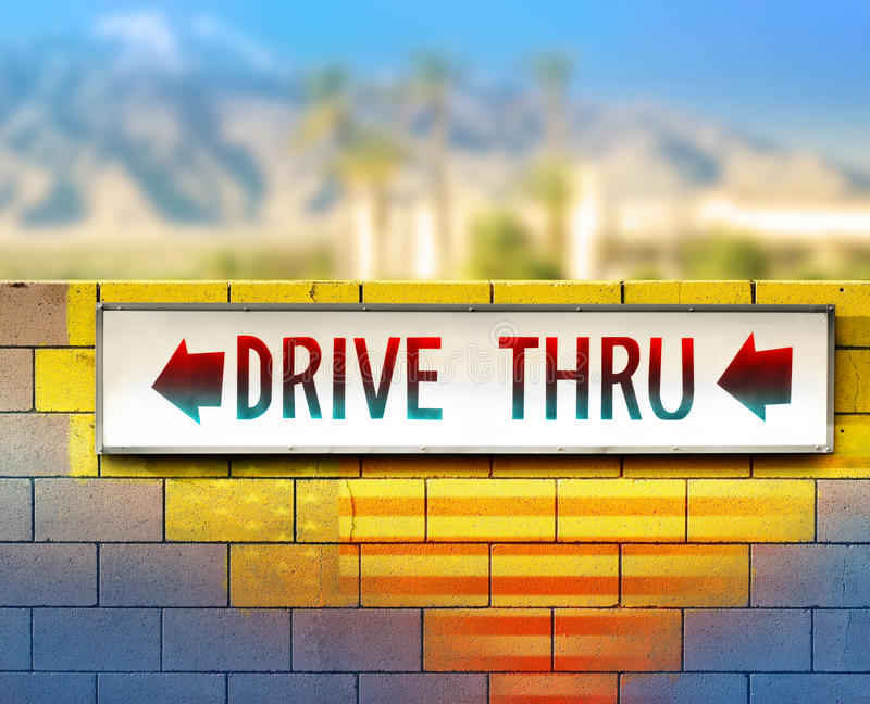 Old drive-thru sign royalty free stock images