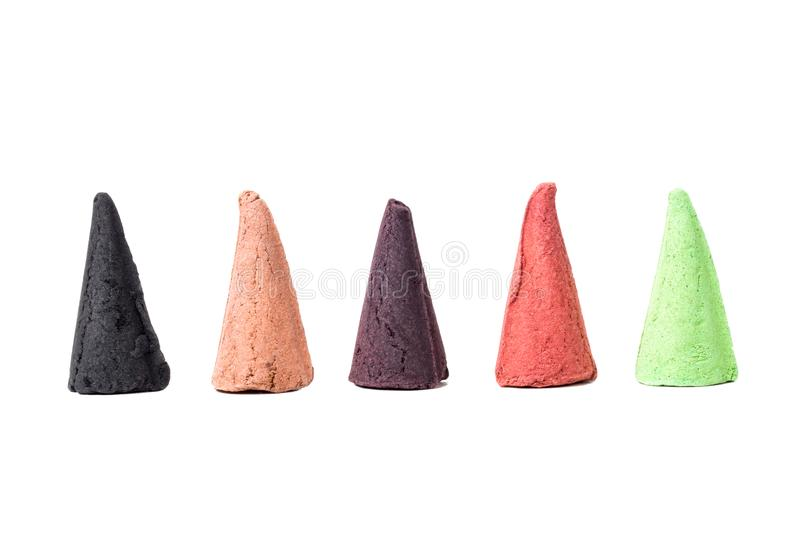 Colorful Incense Cones Isolated on White Background stock image
