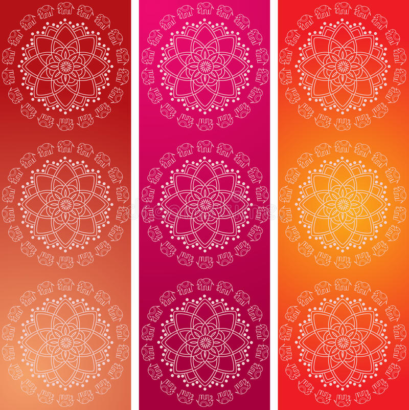 Colorful Indian elephant mandala banners. Set of 3 colorful traditional Indian elephant mandala design vertical banners royalty free illustration