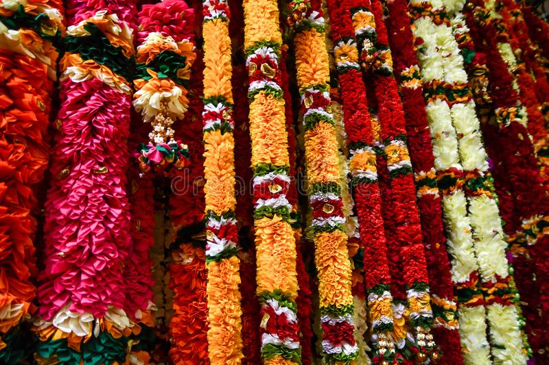 Colorful Flower Garlands Sold in Singapore stock photos
