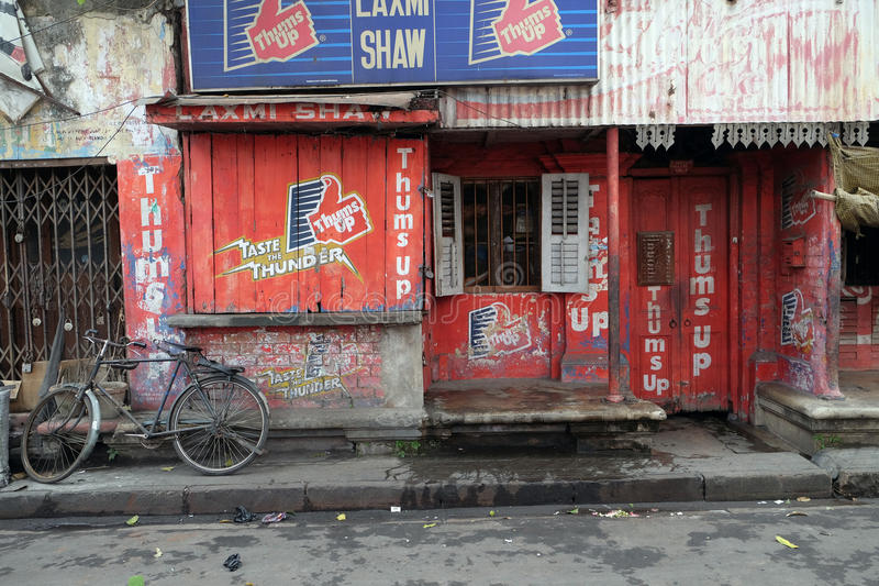 Colorful indian house. Bright red building in Kolkata. India stock photo
