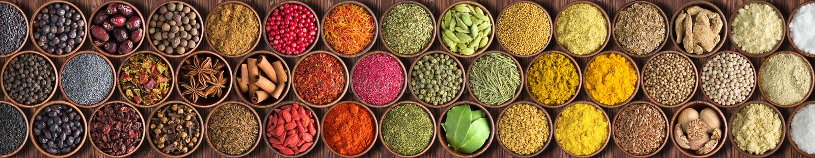 Colorful Indian spices background, top view. large set of seaso stock photo