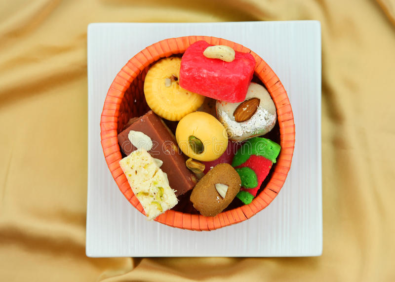 Colorful Indian sweets stock photography