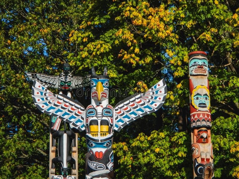 Colorful totems in stanley park vancouver canada stock image