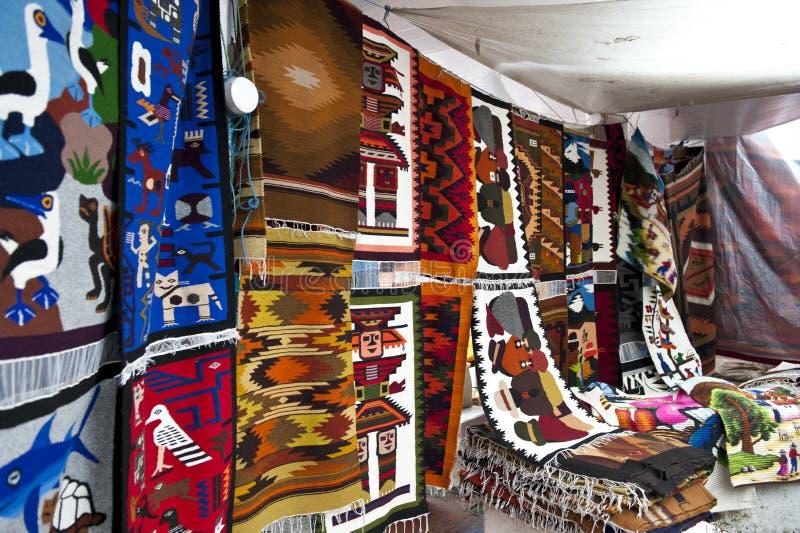Colorful Indigenous Market Of Otavalo Royalty Free Stock Photos