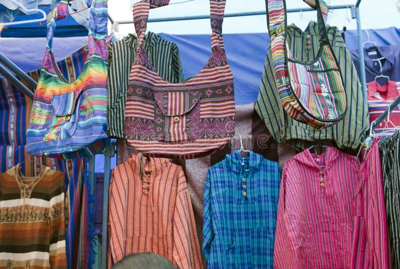 Colorful Indigenous Market Of Otavalo Stock Photo
