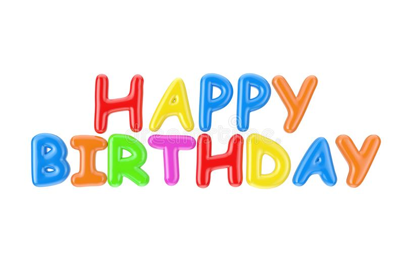 Colorful Inflatable Happy Birthday Bubble Letters Sign. 3d Rendering. Colorful Inflatable Happy Birthday Bubble Letters Sign on a white background. 3d Rendering royalty free stock photography