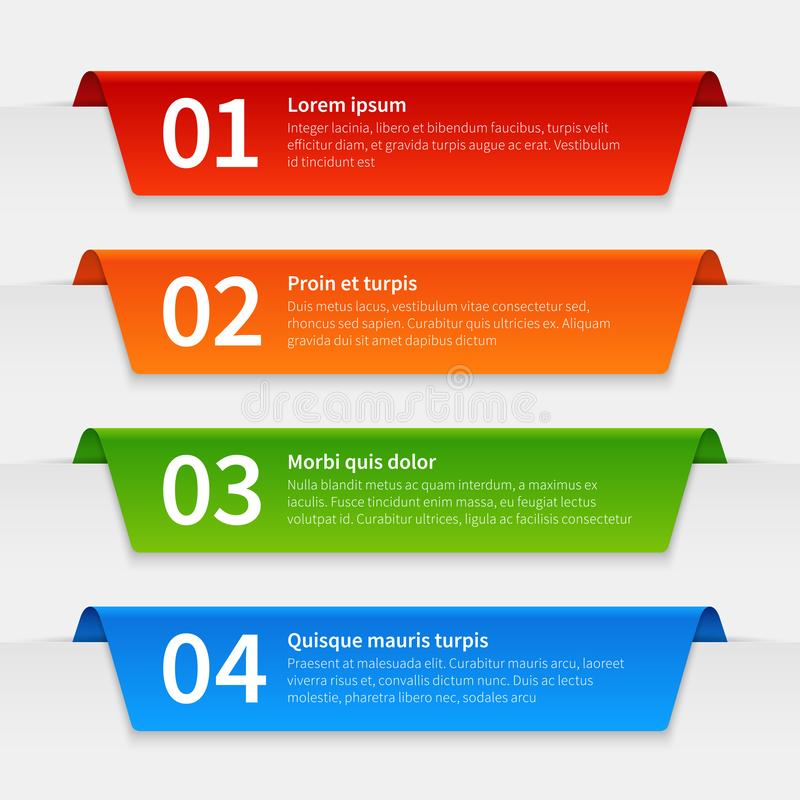 Colorful infographic banners. Tabbed labels template, infographics numbered ribbon frames with text. 3d report vector. Timeline tabbing marketing step market stock illustration