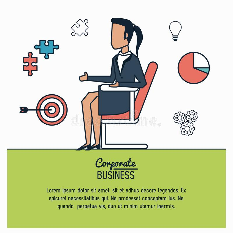 Colorful infographic of corporate business with business woman in chair royalty free illustration