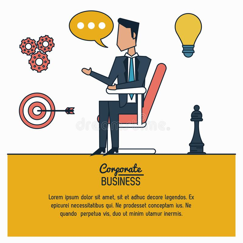 Colorful infographic of corporate business with businessman in chair vector illustration