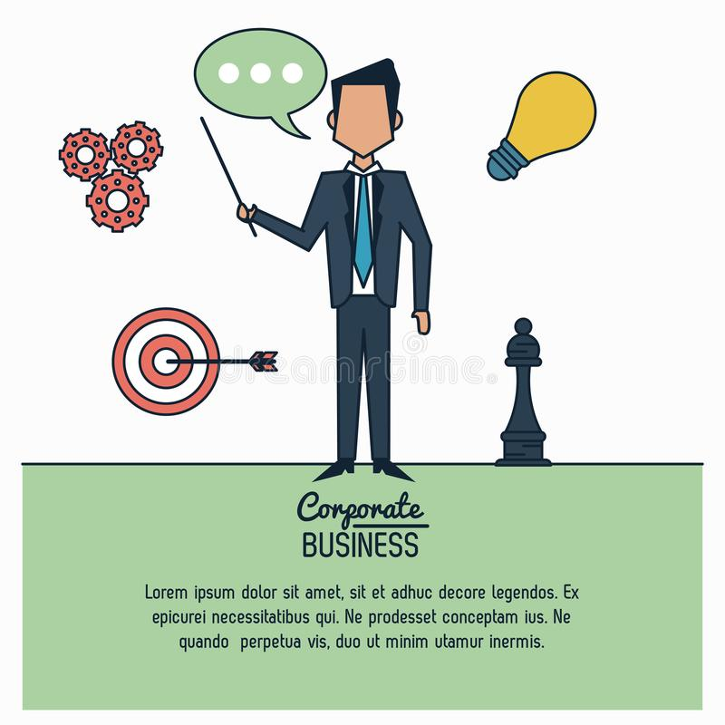 Colorful infographic of corporate business with exponent businessman standing royalty free illustration