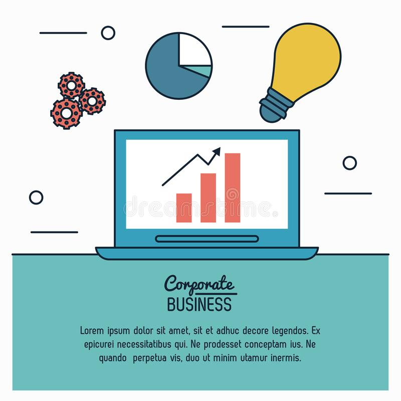 Colorful infographic of corporate business with process idea of economic growing in laptop computer. Vector illustration stock illustration