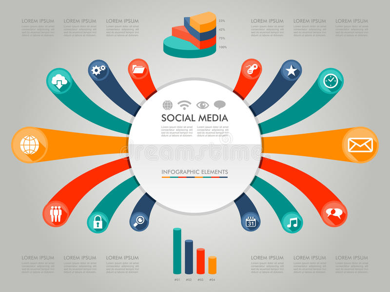 Colorful Infographic diagram social media icons il. Infographic social media icons info text and values concept illustration background. Vector file layered for