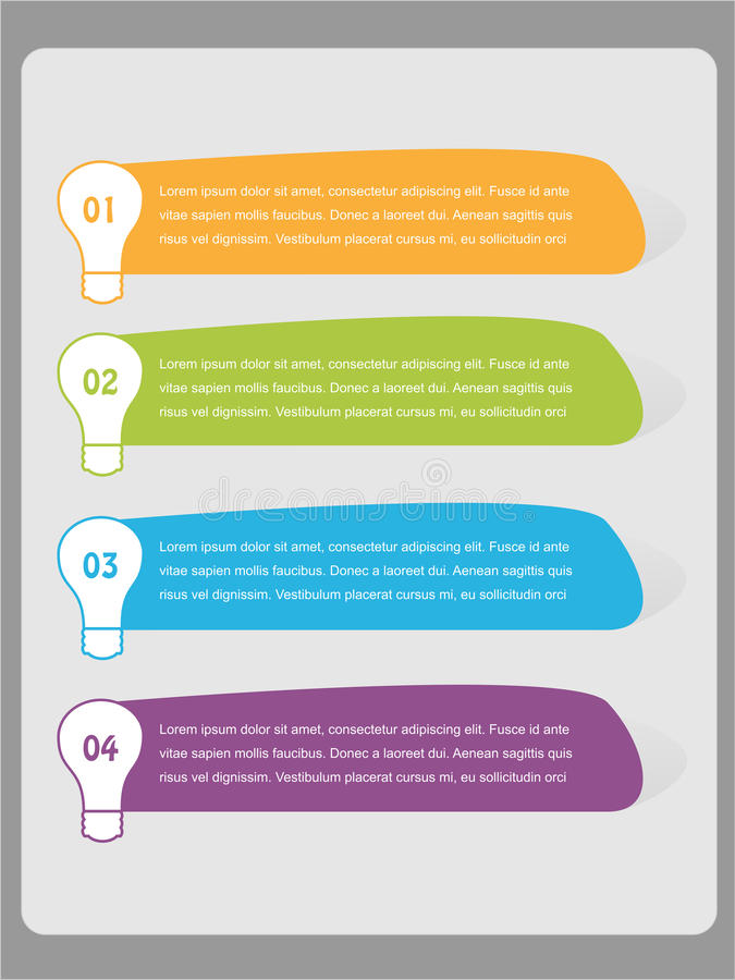 Colorful infographics numbered list - Vector. Colorful infographic numbered list using light bulbs - EPS Vector Template vector illustration