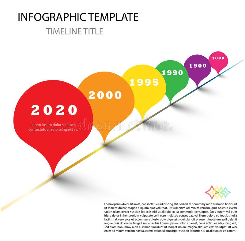 Colorful Infographic modern timeline report template with drops. Colorful Vector Info graphic timeline report template with rainbow colored drops royalty free illustration