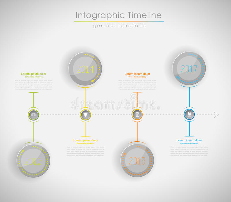 Colorful Infographic, typographic timeline report template stock illustration
