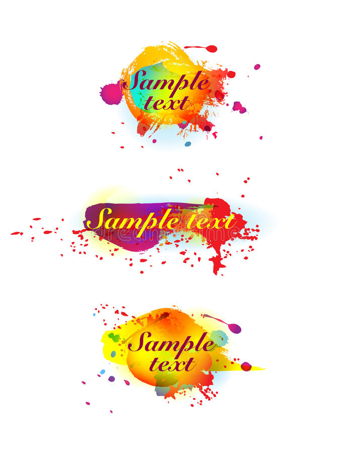 Colorful ink blots. On white royalty free illustration