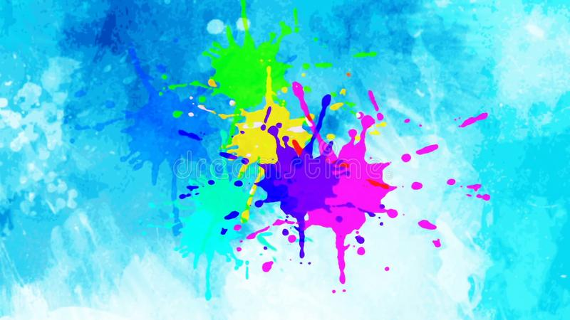 Colorful ink drop in water. Falling colorful ink in water with blue background vector illustration
