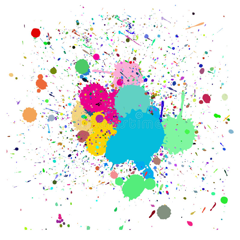 Colorful ink splash. Vector - Colorful ink splash drips on a canvas, for background use vector illustration