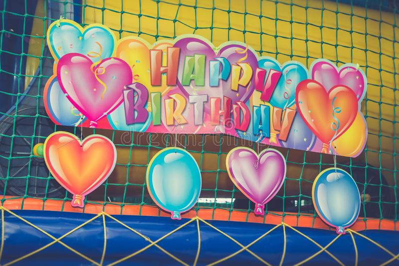 Colorful Inscription happy birthday royalty free stock photo