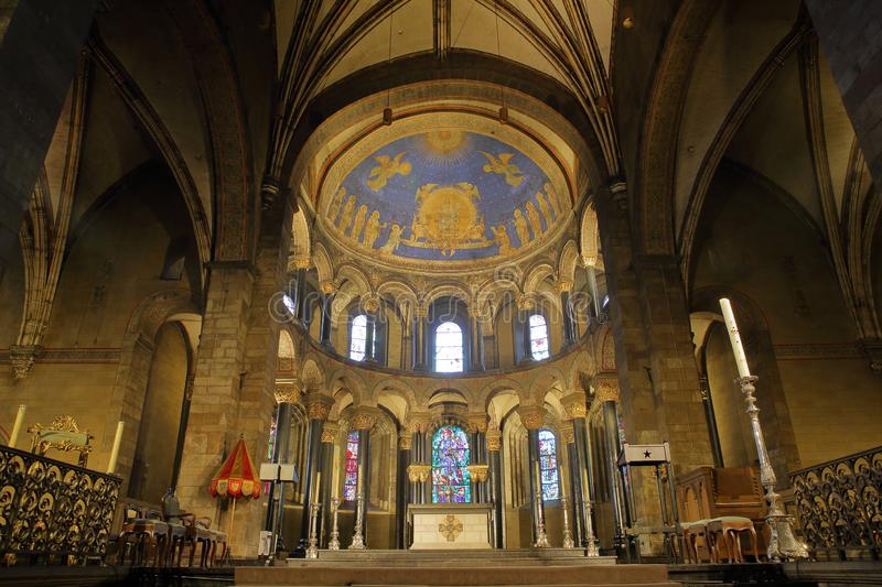 The colorful interior choir of the basilica of our Lady 11th century, a Roman Catholic parish church stock photography