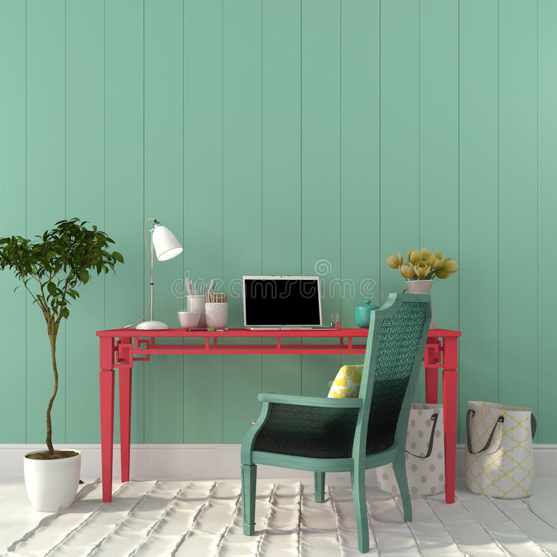 Colorful interior of home office royalty free stock image