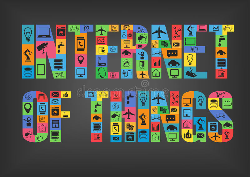 Colorful internet of things characters spelling word with icons. On dark background vector illustration