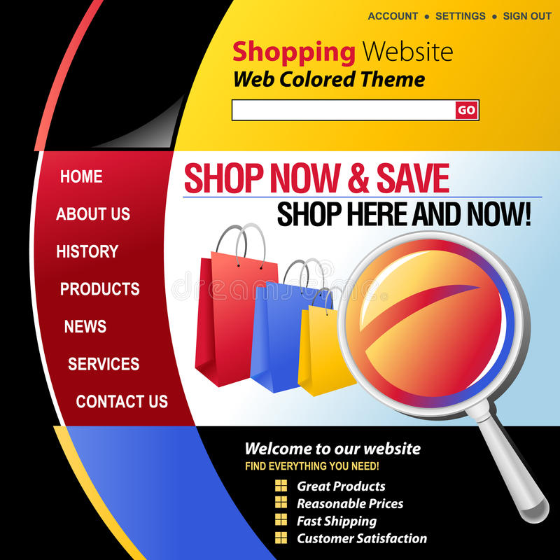 Colorful Internet Web Shopping Template vector illustration