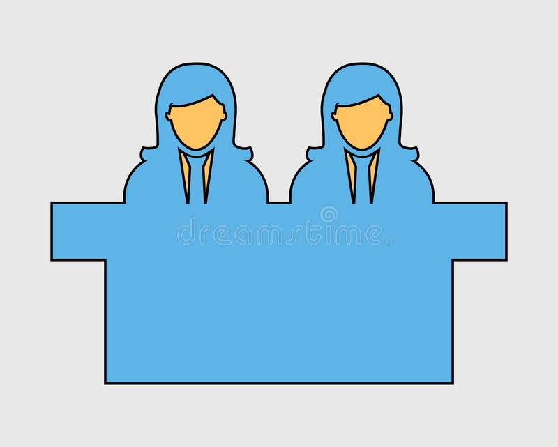 Colorful Interview Panel Icon with desk. On gray background stock illustration