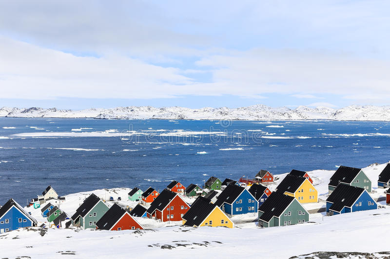 Colorful Inuit houses at the fjord, Nuuk stock image