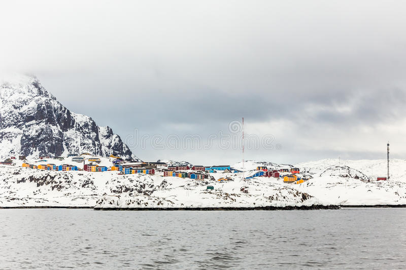 Colorful Inuit houses of Sisimiut city, view from the fjord, Greenland stock photo