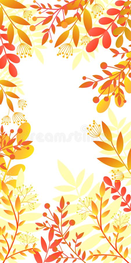 Colorful invitation card with bright autumn plants, orange,yellow gradient colors. Template frame in flat style,isolated vector illustration