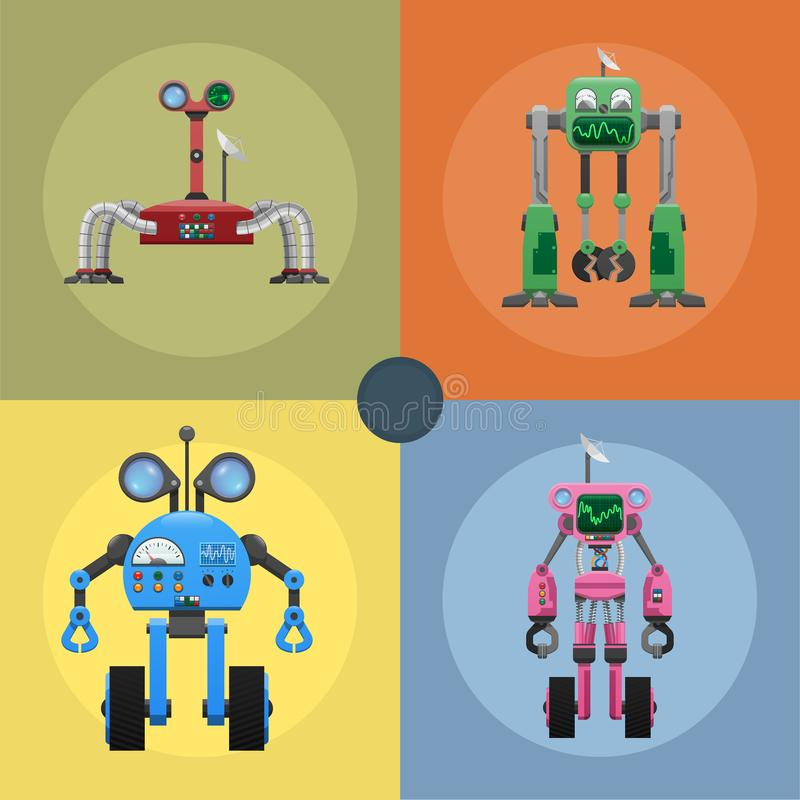 Colorful Iron Mechanical Robots Illustrations Set vector illustration