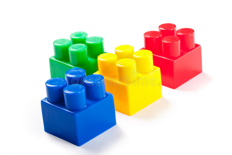 Colorful isolated building blocks toy. Isolated over white background royalty free stock photo