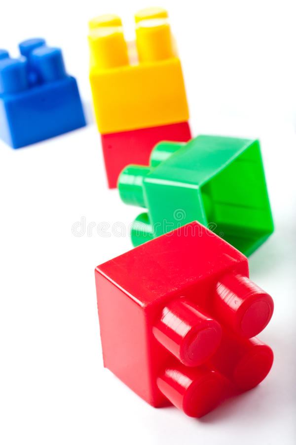 Colorful isolated building blocks toy stock photo