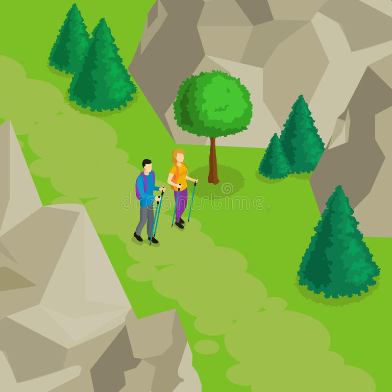Colorful Isometric Hiking Template stock illustration