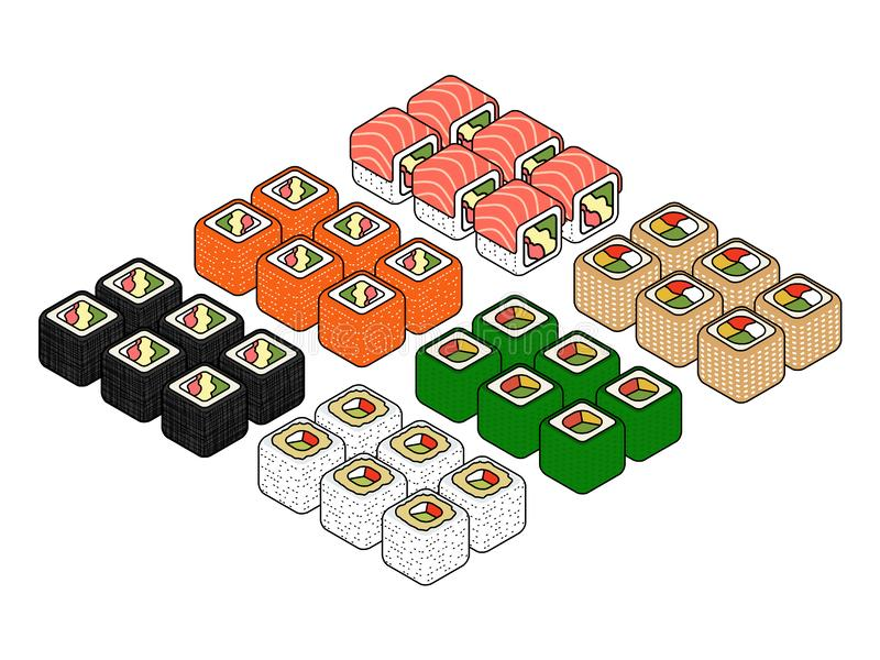Isometric sushi icons on blue background for other categories. Colorful Isometric set of a few kinds of sushi rolls Vector flat style design isolated on white stock illustration