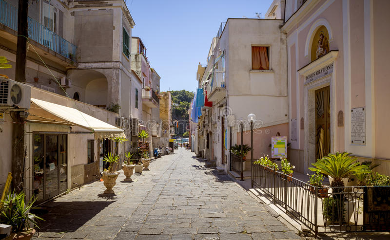 Colorful italian street on Procida Island, Italy stock photography