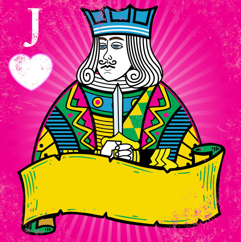 Colorful Jack of Hearts with banner illustration stock photography