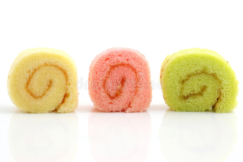 Colorful jam roll. Isolated in white background stock photography