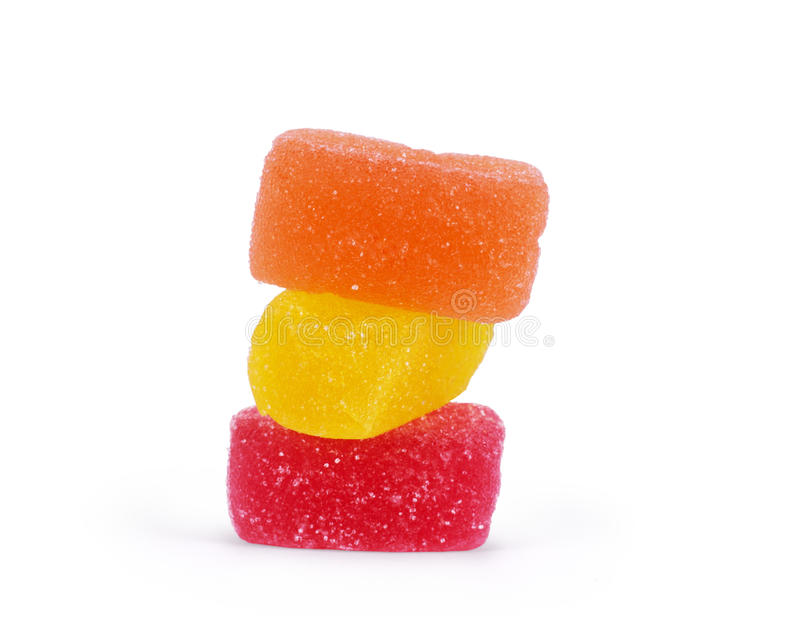 Colorful jelly candies isolated. on white royalty free stock image