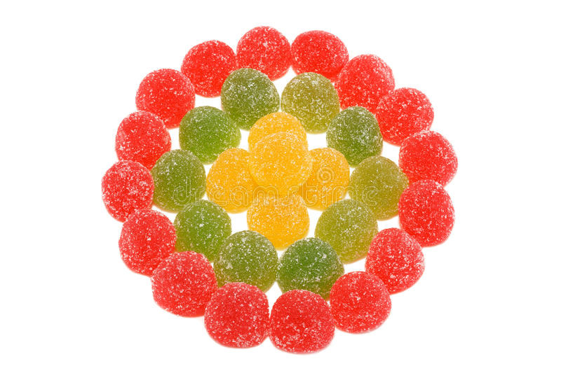 Colorful jelly candies isolated on white background royalty free stock photo