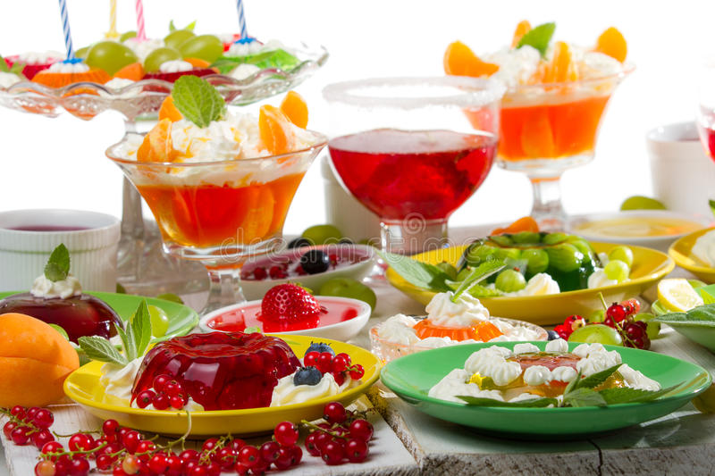 Colorful jelly with fruits stock photo
