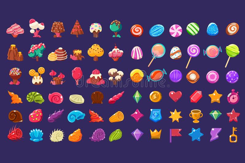Colorful jelly glossy figures of different shapes, sweet candy land cute fantasy elements, sweets, candies user. Interface assets for mobile apps or video games royalty free illustration