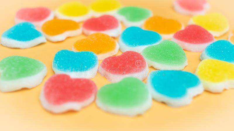 Colorful jelly Marshmallows candy  in heart shape .concept of love.Happiness.Holiday. background royalty free stock photos