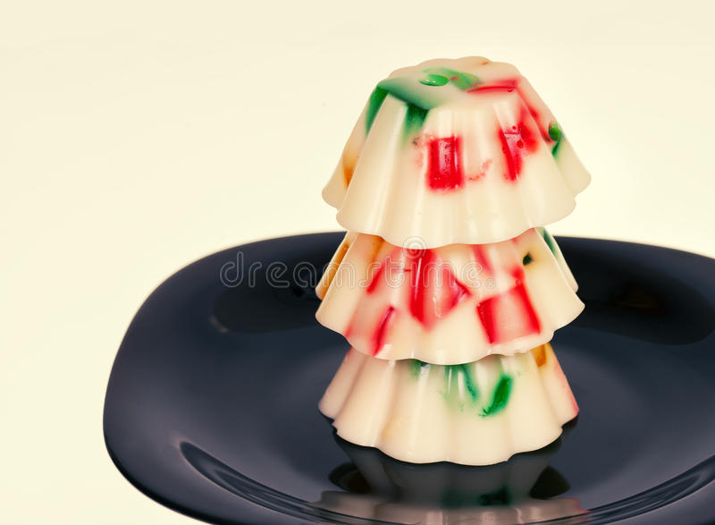 Colorful jelly pudding royalty free stock image