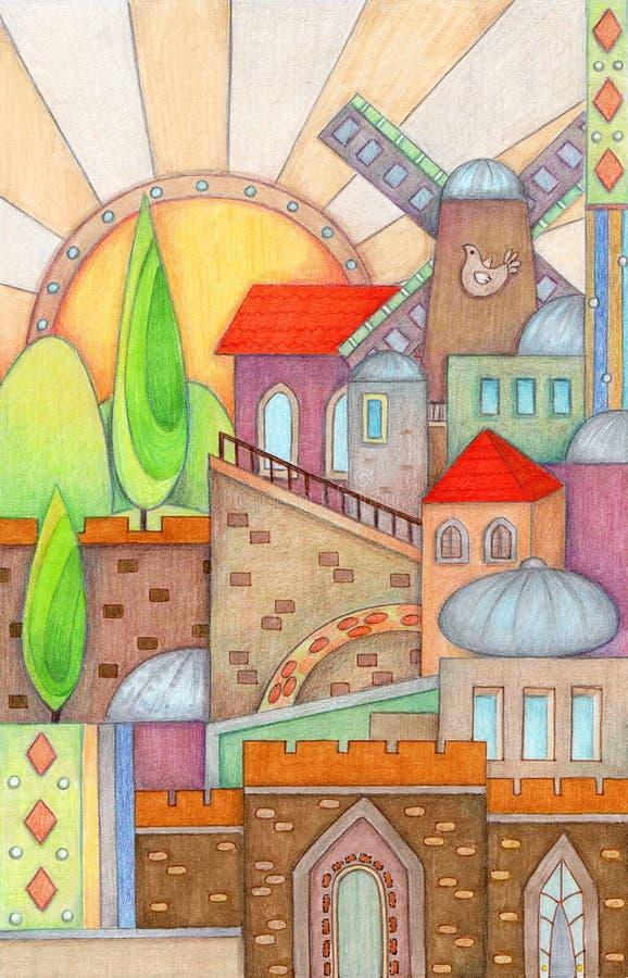 Download Colorful Jerusalem stock illustration. Image of places - 36984492