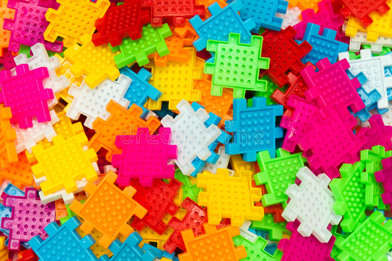 Colorful jigsaw puzzle close up. stock image