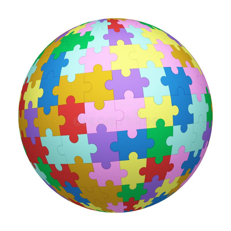 Colorful jigsaw puzzle pattern texture on sphere or ball isolated on white background. Mock up design. 3d abstract illustration stock illustration